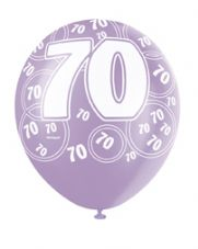 70th Birthday Pink Glitz Latex Balloons 12 inch